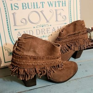 Naughty Monkey Brown Leather Fringe Ankle Booties